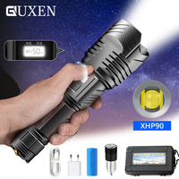 More Powerful XHP90 LED Flashlight Tactical Torch Digital Stepless Dimming Power Display USB Rechargeable Zoom Outdoor Lighting