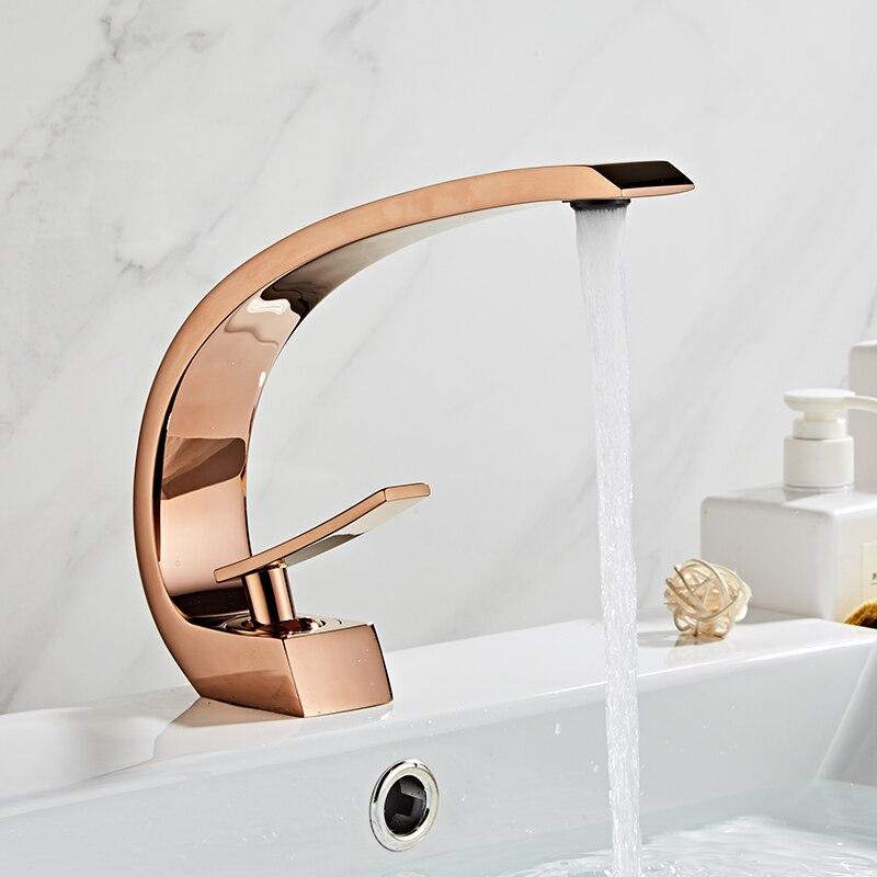 Tuqiu Basin Faucet Modern Bathroom Mixer Tap Rose Gold Wash Basin Faucet Single Handle Single Hole Hot And Cold Waterfall Fauce