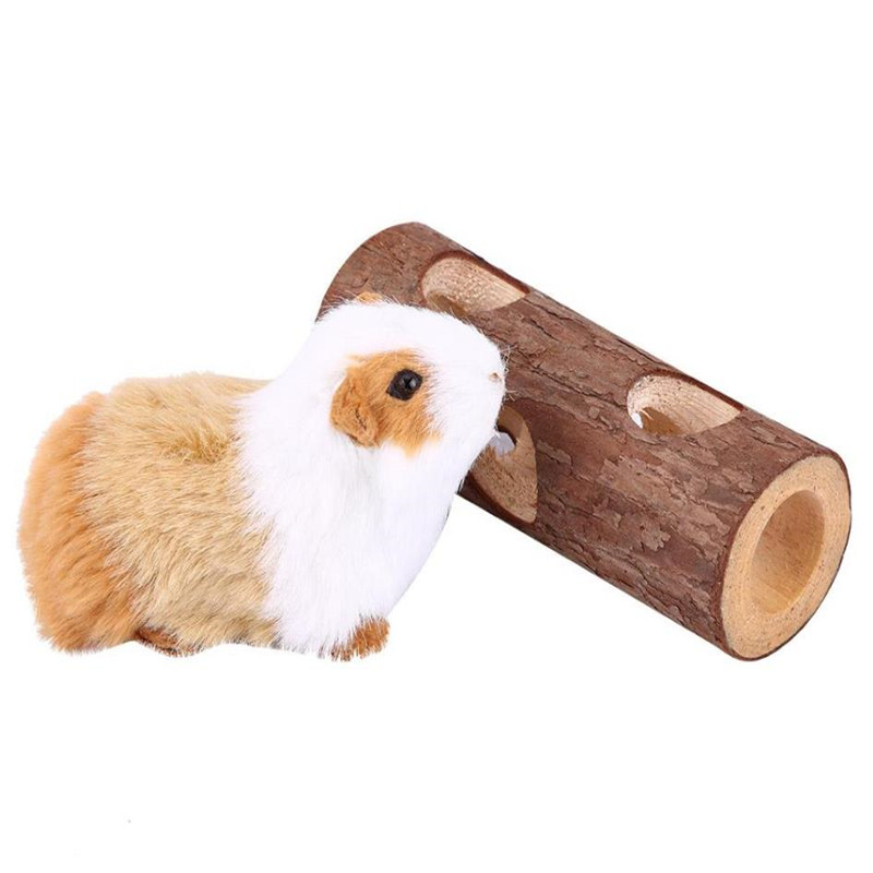 Funny Little Pet Wooden Toy Tunnel Exercise Tube House Cage Hamster Guinea Pig Small Mouse Molar Chewing Supplies Accessories