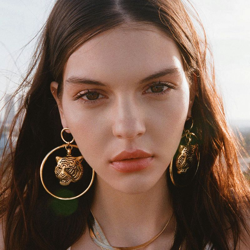 Yuedane New Gold Color Exaggerated Tiger Head Alloy Earrings For Women Girl Geometric Big Hollow Round Circle
