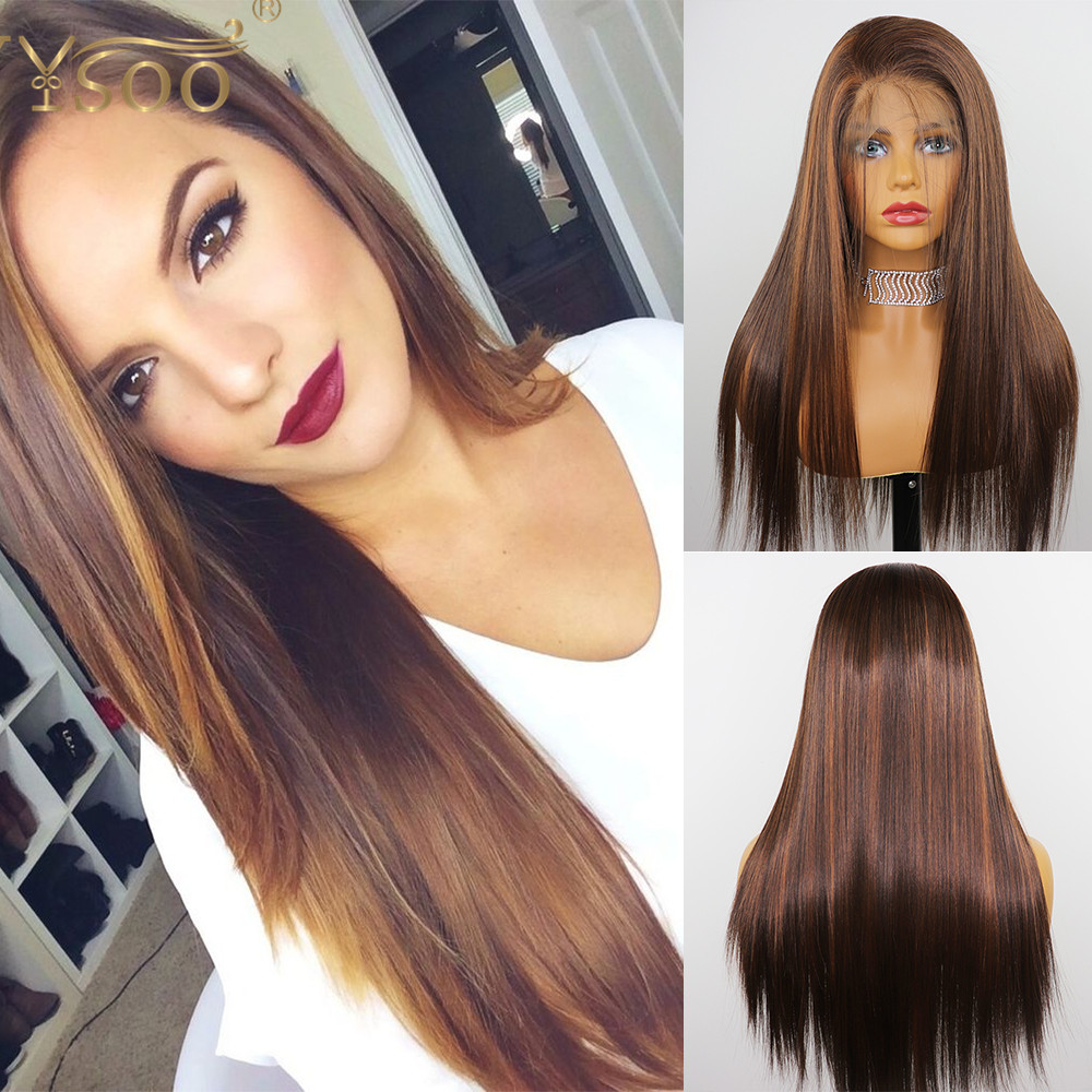 YYsoo13x6 Long Silky Straight Glueless Lace Front Synthetic Wigs For Women Highlight Heat Resistant Japan Futura Synthetic Wig