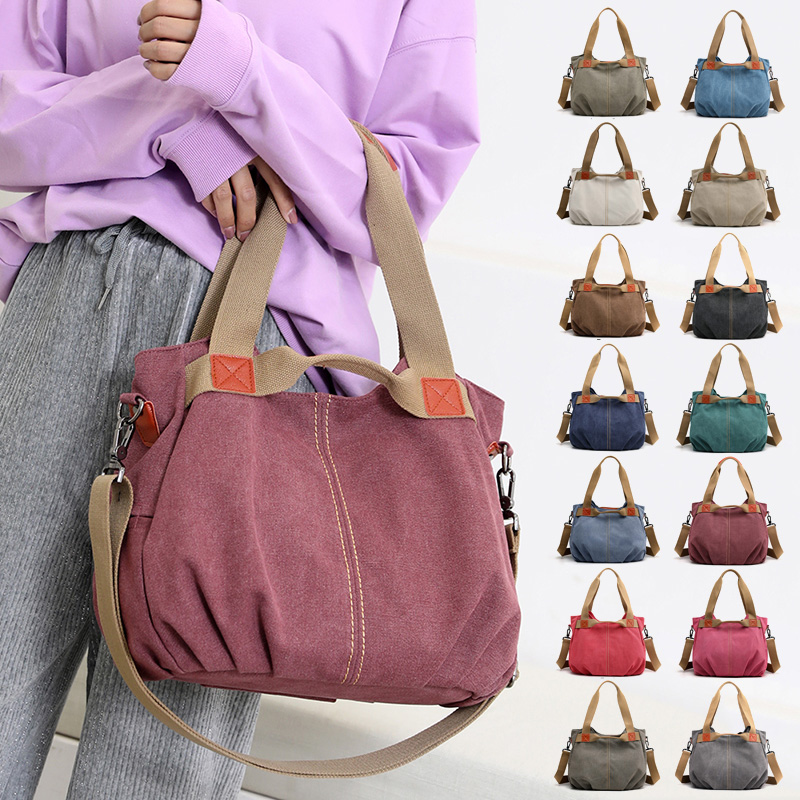 14 Colors Women Canvas Shoulder Bag Ladies Hobos Totes Large Vintage Handbags Female Crossbody Bags for 2019