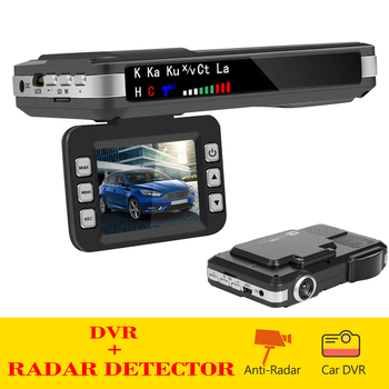English Russian Voice Radar Detector 2 in 1 Car DVR Dashboard Camera Speedometer Mobile Speed Radar Detect Protect X K CT La image