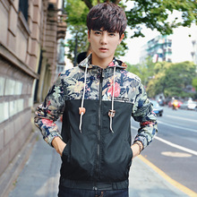 Mens Casual Patchwork Camouflage Hoodie Jacket Streetwear Autumn Men Waterproof Clothes Windbreaker Coat Male Outwear