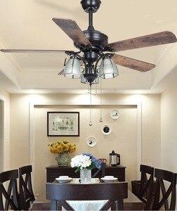 Retro ventilador de teto lâmpada casa simples ventilador retro europeu folha de madeira cobre cheio ventiladores teto com luzes