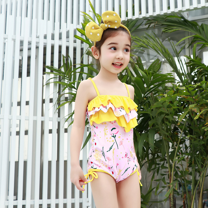 Korean-style Sweet Cute One-piece Swimming Suit Children Girls Multilayer Medium-small Young Children Baby GIRL'S Triangular Tou