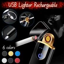 Cigarros isqueiro elétrico carregamento usb recarregável flameless collectible mais leve ao ar livre portátil durável ferramentas de acampamento 1124