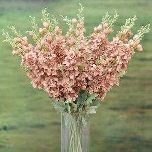 5 uds. 2 tenedor grande Delphinium flores artificiales decoración del hogar boda Pared de flores Material seda flores artificiales guirnalda decorativa