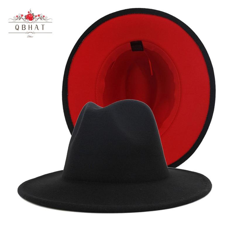 QBHAT мужские и женские черные красные лоскутные шерстяные фетровые флоппи-шляпы Jazz Fedora модные вечерние шляпы с широкими полями