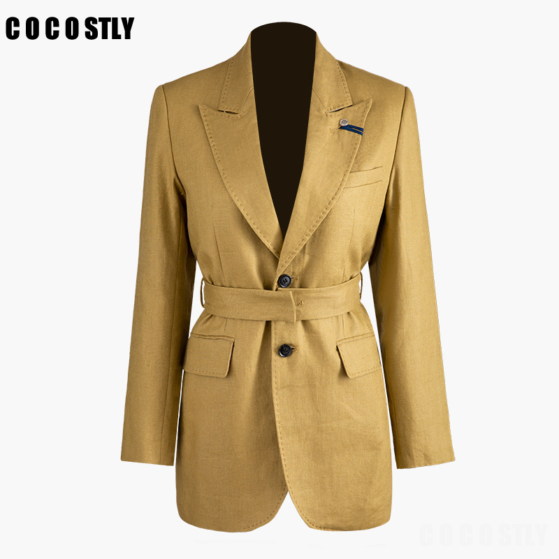 Blazer For Women Chic Khaki Blazer Pockets Sashes Single Breasted Office Lady Suit Long Sleeve Coats Female Casual Outerwear