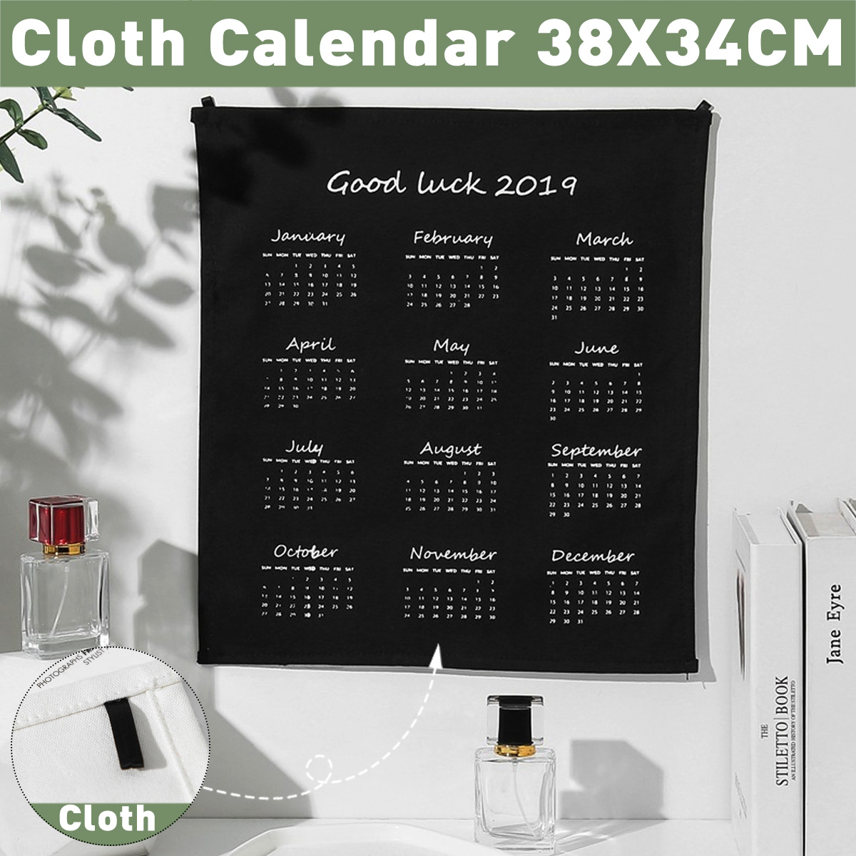 2020 Wall Calendar 365days Fabric Printed Calendar Clock Yearly Diary Study Planner Advent Calendar Cloth Wall Hanging Decor