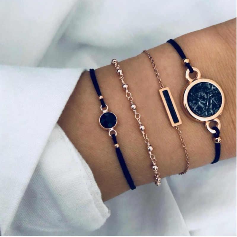 Boho Charm bransoletki i zestaw bransoletek dla kobiet w stylu Vintage bransoletka z paciorkami moda wielowarstwowe akcesoria Pulseras Mujer 2019 Bijoux