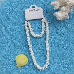 Бесплатная доставка (2 шт./компл.) ожерелье из натуральных ракушек ручной работы + серьги-браслет, пляжные свадебные украшения для праздников