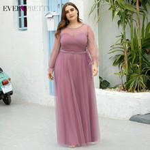 Plus Ukuran DUSTY Pink Prom Gaun Pernah Cukup EZ07663OD A-line Penuh Lengan O-Leher Ruched See-Through Tulle Formal Pesta gaun(China)