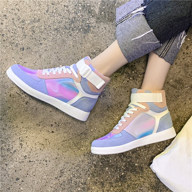 Mhysa 2019 Autumn Women Fashion Sneakers High Top Hook Loop Lace Up Platform Casual Shoes flat Heel Women's vulcanized shoes 48