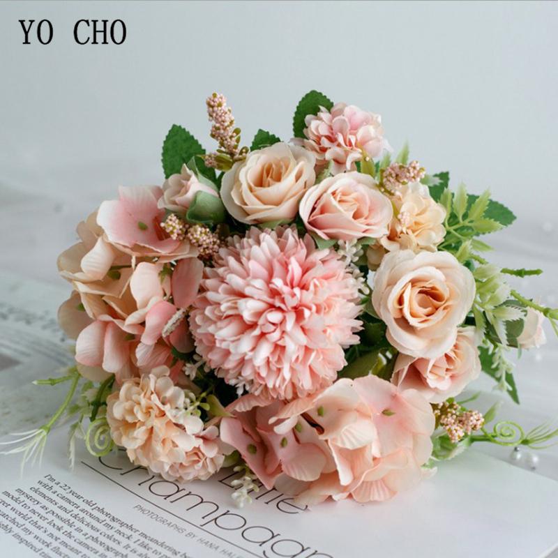 YO CHO Wedding Bouquet Artificial Silk Rose Peony Flower Bride Bouquet Pink Hydrangea Pompom Bud Vanilla Spike Wedding Supplies