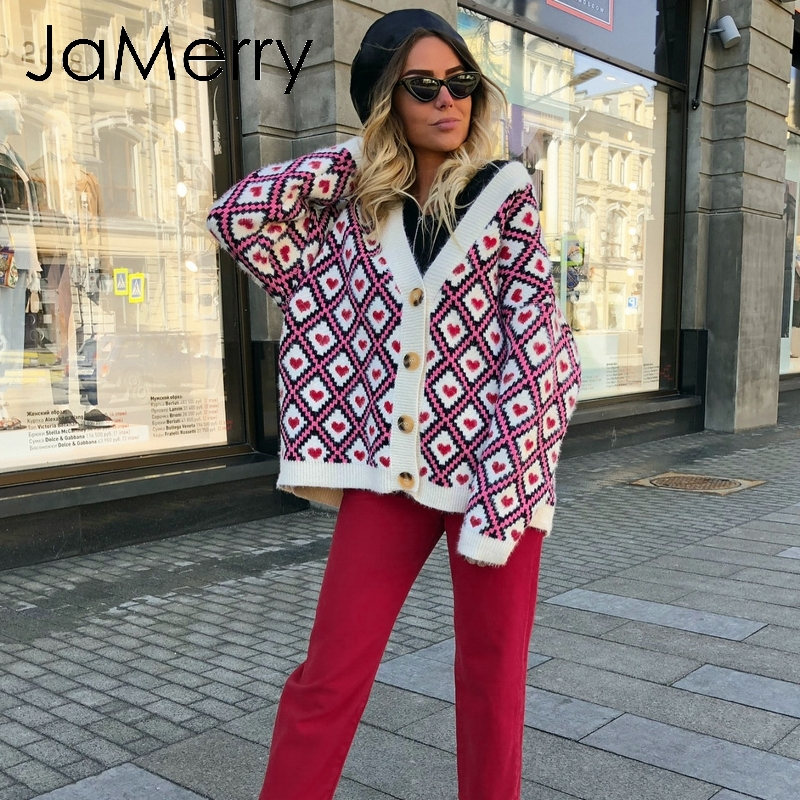 JaMerry Heart  Print Knitted Cardigan Women Single Breasted Female Sweater Cardigan 2019 Autumn Winter Oversized Cardigan Jumper