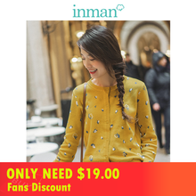INMAN 2019 Autumn New Arrival Pretty Literary All Matched O-neck Long Sleeve Button Women Cardigan