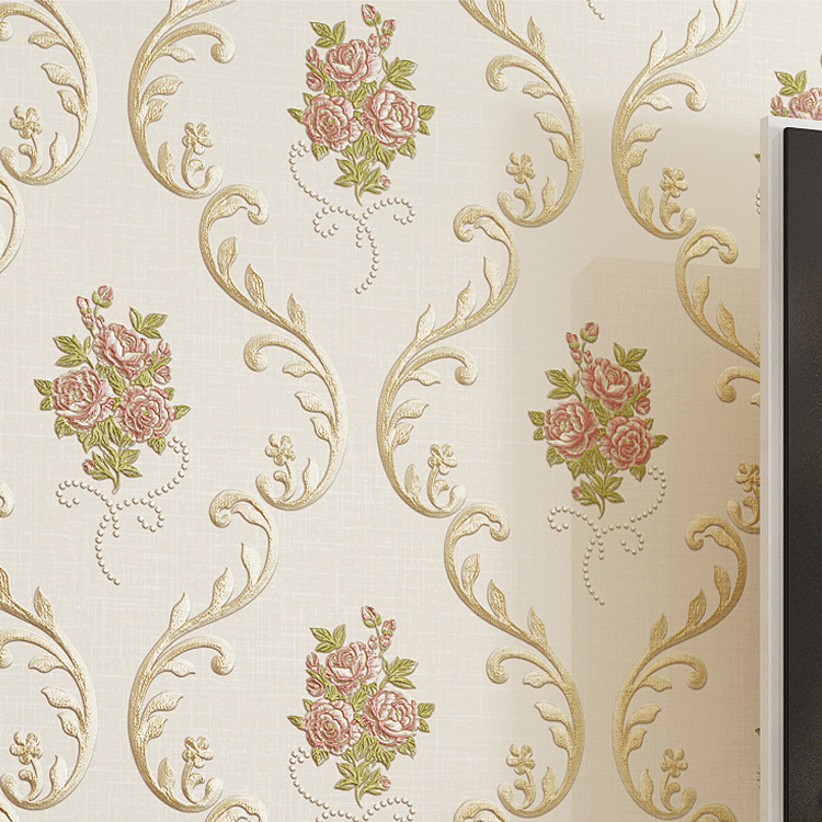 Jincheng 3D Coining European Countryside Big Flower Wallpaper Nonwoven Fabric Bedroom Bedside Warm Wall-to-Wall Wallpaper Beige