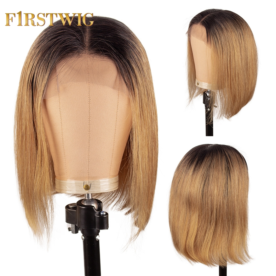 Firstwig Short Straight Bob Wig Brazilian Lace Front Human Hair Wigs 13x4 T1B27 Color Pre Plucked With Baby Hair For Black Women