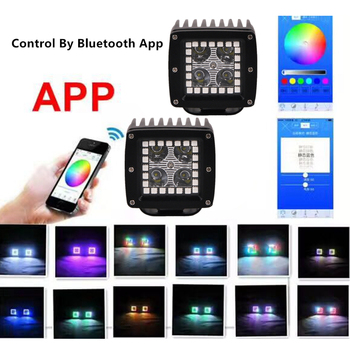 12W 3 Inch LED Work Light RGB Angel Eye Spot Beam Driving Work Light Bar APP Remote Control For SUV Offroad Car (2pcs/set Spot)