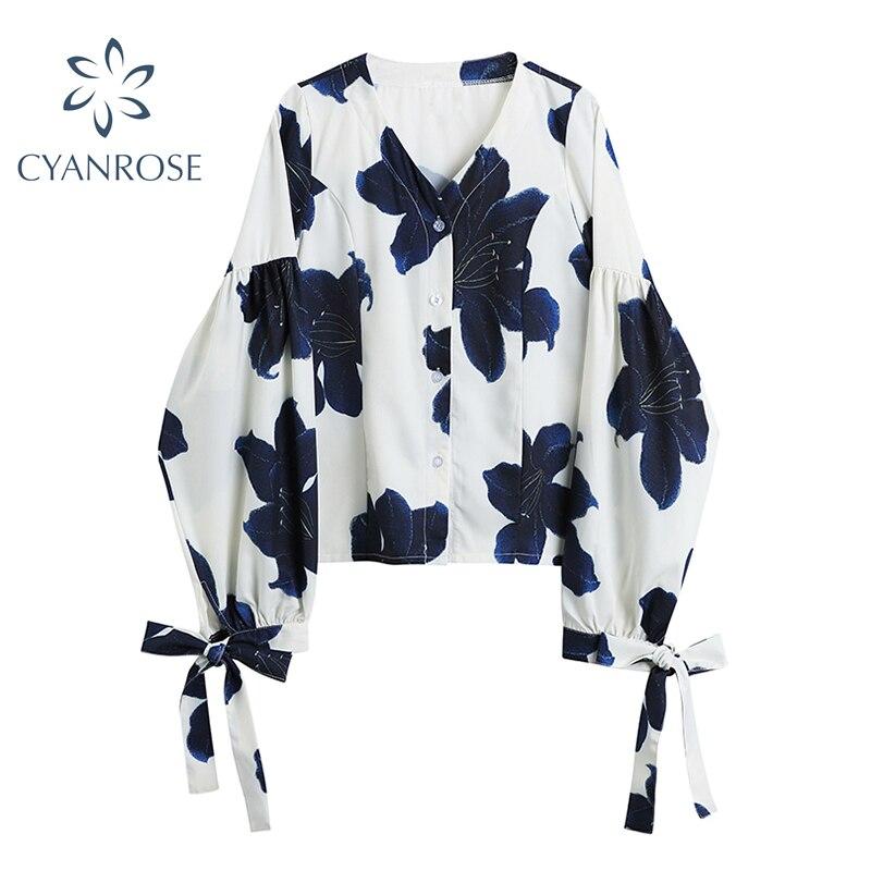 Женская винтажная блузка с цветочным принтом, свободная офисная рубашка с длинным рукавом и V-образным вырезом, элегантная дизайнерская блу...