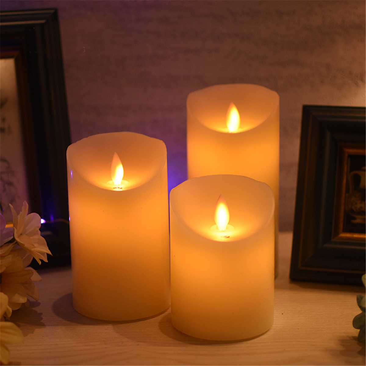 LED Candle Light Projector Desk Lamp Battery Powered Indoor Lighting Home Party Wedding Decoration Ornaments Gifts Night Light