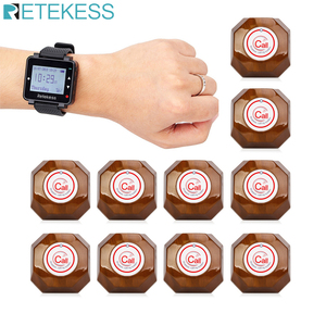 Image 1 - Retekess 433MHz Wireless Waiter Calling System Call Pager 1pcs Watch Receiver T128 + 10pcs Call Button T133 for Restaurant