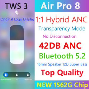 Air Pro 8 TWS Wireless Bluetooth 5.2 Earphone 42DB Hybrid ANC Earbuds Super Bass Quality 1562G PK H1 1562A i900000 MAX With Text