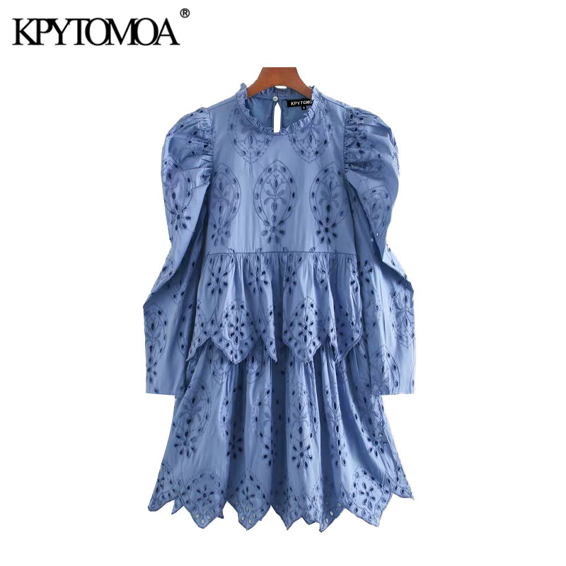 KPYTOMOA Women 2020 Chic Fashion Hollow Out Embroidery Mini Dress Vintage High Neck Puff Sleeve Female Dresses Vestidos Mujer
