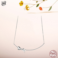 2019 Original Real 925 Sterling Silver Brilliant Bow Europe Necklace With Shiny CZ For Women Bead Charm Gift Fine Jewelry