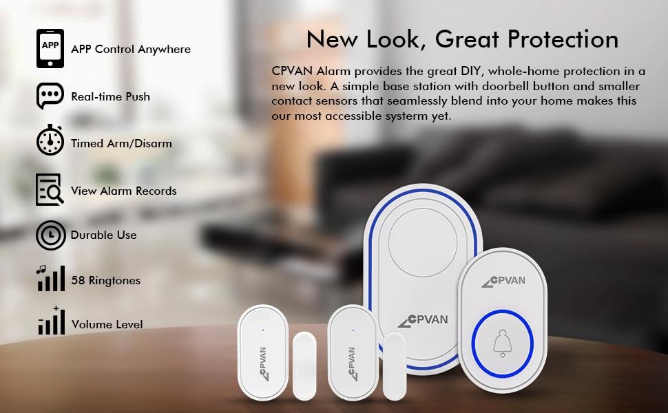 He58c8e4a1aa843edb4c2f371a1133fdec - CPVAN Wireless Doorbell Alarm System Smart WIFI Doorbell Strobe Siren Tuya App 58 Sound Compatible Home Security Alarm System