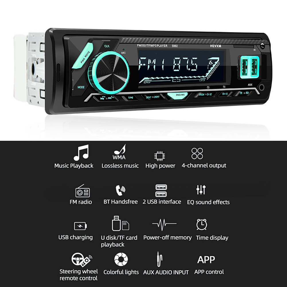 DC 12V Car Audio Stereo Radio Bluetooth In-dash 1 Din FM Input Receiver Car Radio Player MP3 Playback Support App Control