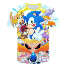 sonic the hedgehog girls clothes 3D kids t-shirt summer Tops baby boys