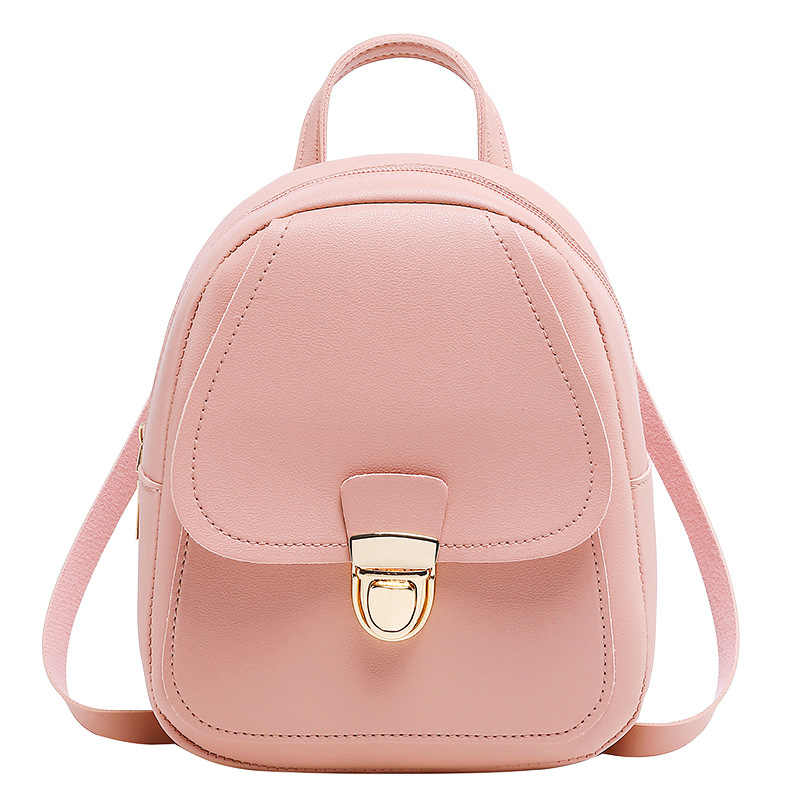 Small pu school bag Korean version of the trend of women's bags casual backpack shoulder Messenger mobile phone bag