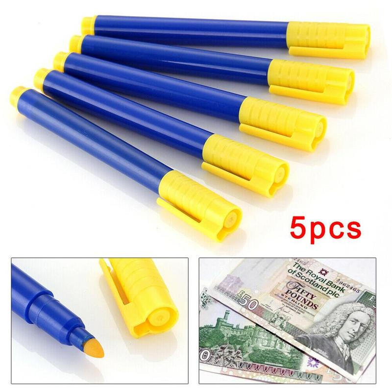 5 Pcs/set Pens Water-based Counterfeit Pen Money Bill Bank Note Pen Detector Tester Marker Magic Pen Money Detector