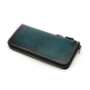 genuine leather cow skin men zipper long purse large capacity card holder handmade high quality