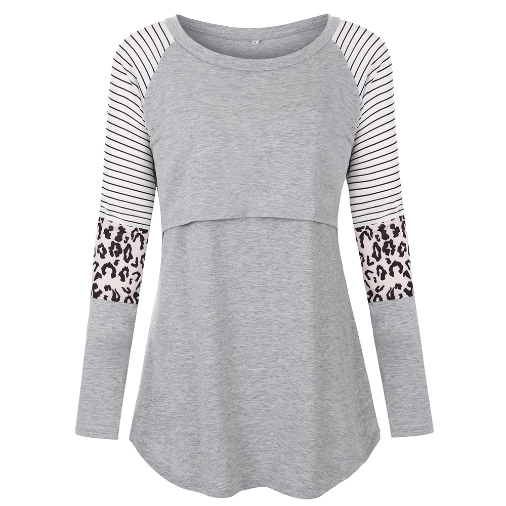 Womens Maternity Nursing Shirt Tops Long Sleeve Striped Stitching Breastfeeding T-Shirt Blouse Clothes S-2XL
