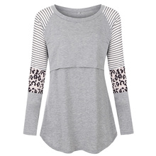 Maternity Tshirt Women Mom Pregnant Nursing Baby Long Sleeved Stripe Tops Maternidad Ropa Lactancia Breastfeeding T Shirt D20 cheap Wisefin Polyester O-Neck Tees Full Knitted Animal REGULAR Contrast Color 866123