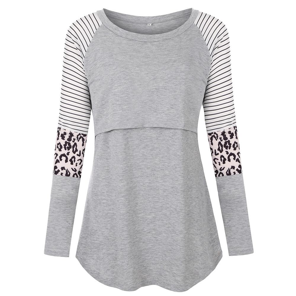 Maternity Tshirt Women Mom Pregnant Nursing Baby Long Sleeved Stripe Tops Maternidad Ropa Lactancia Breastfeeding T Shirt D30