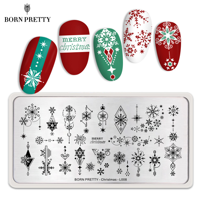 BORN PRETTY Nail Stamping Plates Christmas Tree Xmas Bell Image Nail Art Stamp Stencil For DIY Manicuring Marry Christmas Theme