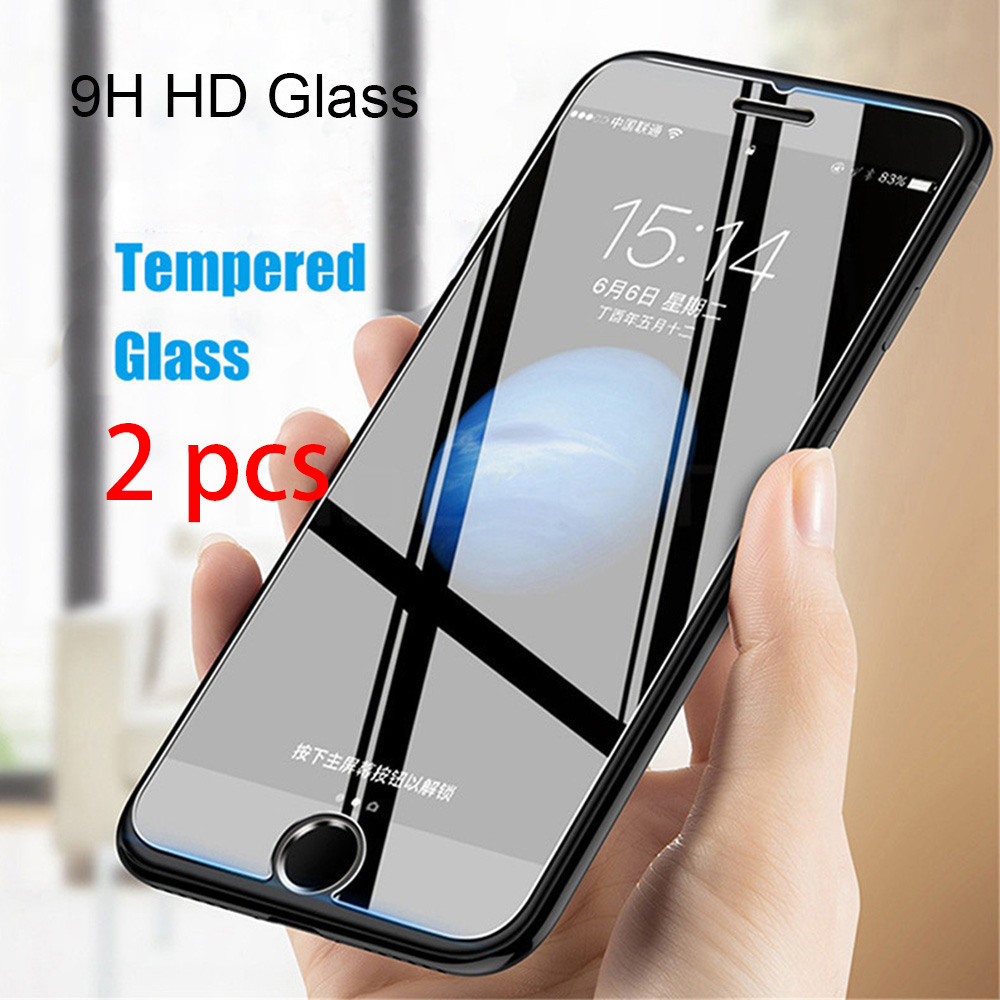 2pcs Protective Glass on the for iPhone 7 X XR XS 11 Pro Max Tempered Glass Screen Protector for iPhone 8 6 6S Plus 5 5S SE 4 4S