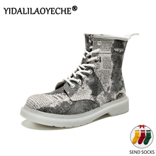 Print women boots Wedges ankle boots for women lace up combat boots fo