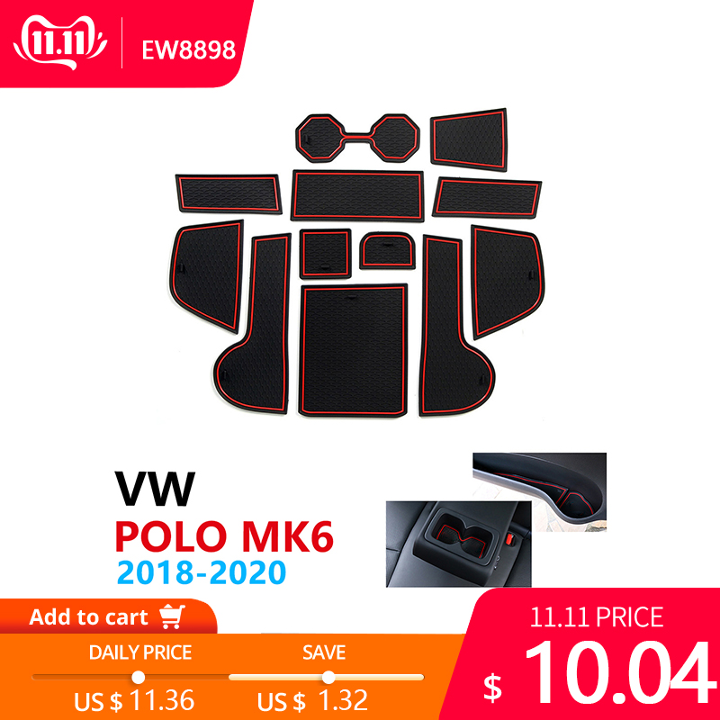 Image 1 - Anti Slip Rubber Cup Cushion Door Groove Mat for VW POLO MK6 Volkswagen 2018 2019 2020 Accessories Car Stickers mat for phone-in Car Stickers from Automobiles & Motorcycles
