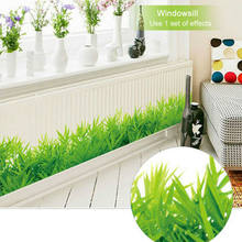 Wallpaper Removable Green Grass PVC Wall Stickers Home Decor Kids Room Bathroom wall paper Mural DIY Household papel de parede(China)