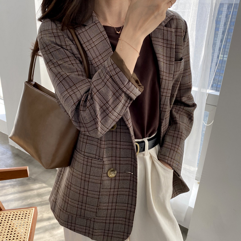 2020 spring and autumn trend new retro plaid fashion casual comfortable V-neck women's double-breasted small suit jacket women