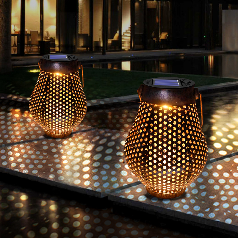 Hanging Brown Solar Lanterns Iron Art Lamp Ornaments Solar Lights with Handle Outdoor Solar Garden Light Decor for Yard Tree|Solar Lamps|   - AliExpress