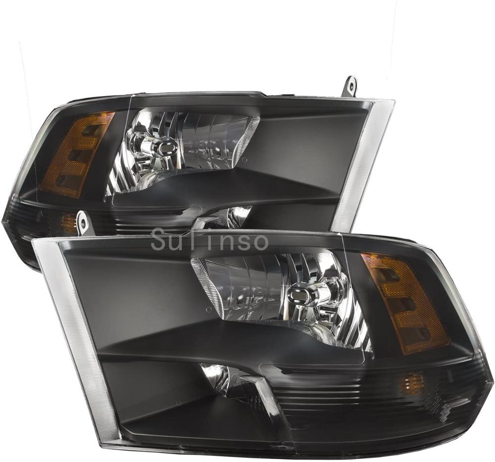 Suliso Fit For 2009-2018 Dodge Ram 1500 10-18 2500 3500 Headlights Black Quad Style Headlamps Driver + Passenger Side