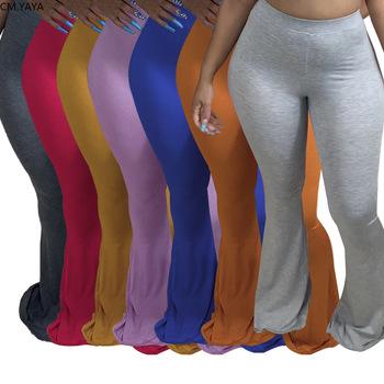 CM YAYA na co dzień S-4XL Plus Size kobiety elastyczne szerokie nogawki spodnie Flare legginsy spodnie z wysokim stanem drapowane spodnie do biegania spodnie dresowe tanie i dobre opinie COTTON Poliester Pełnej długości Stałe High Street Spodnie pochodni Mieszkanie skinny Osób w wieku 18-35 lat NONE Suknem
