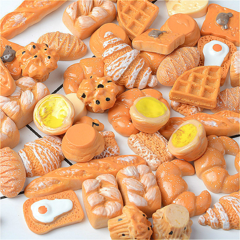 30pcs/bag Resin Bread Play Food Slime Accessories Playdought Tools Additives Slider Polymer Clay Molds DIY Decoration Materials